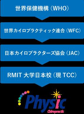 世界保健機関(WHO)>世界カイロプラクティック連合(WFC)>日本カイロプラクターズ協会(JAC)>RMIT大学日本校(現TCC)>Physic