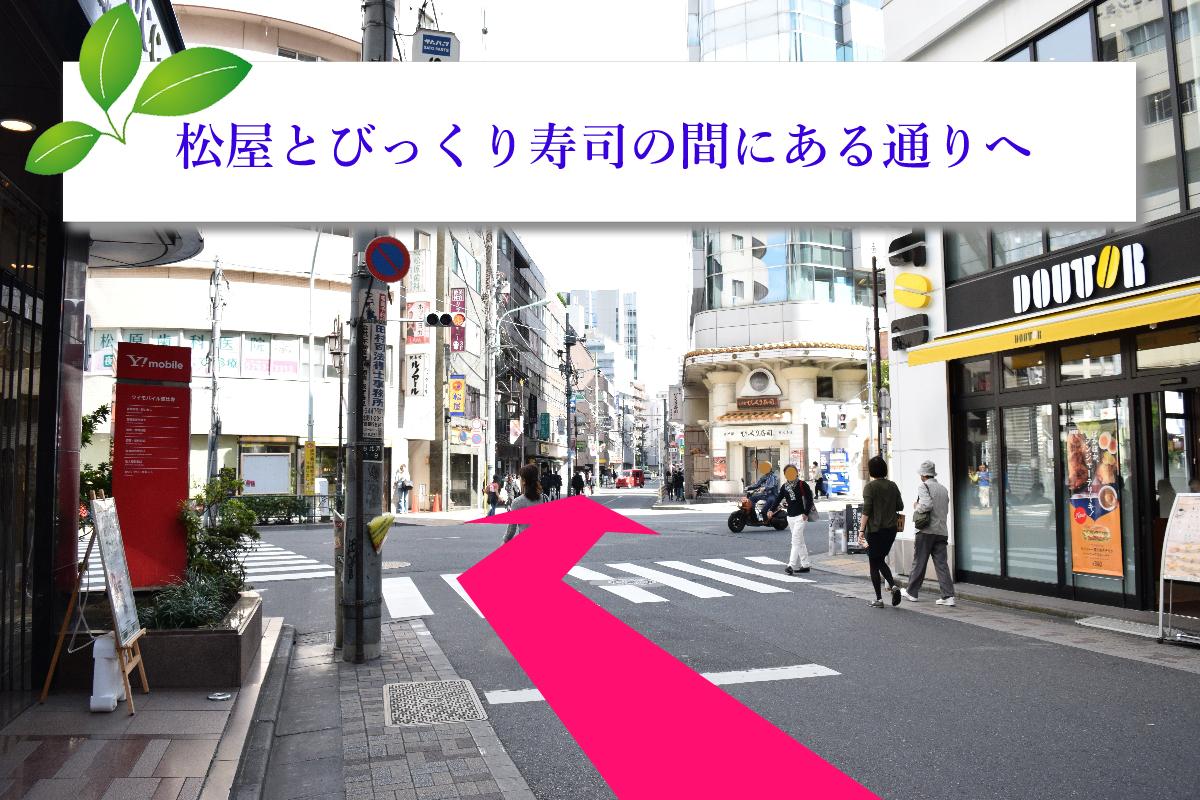 横断歩道を渡り、松屋とビックリ寿司の間の通りを進んで下さい。